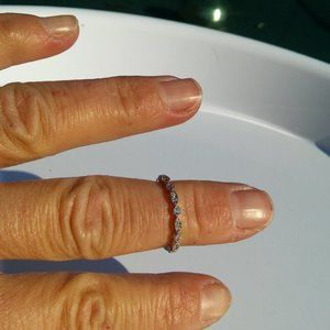 Women`s small marked s925 ring with tiny crystals.
